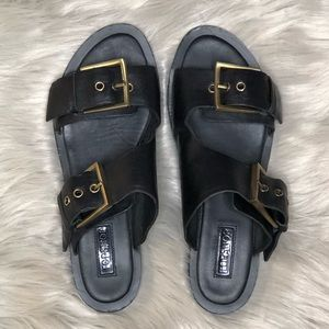 Topshop Black Sandals with Gold Buckles